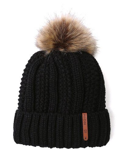 Striped Pom Ball Knitted Beanie - BLACK  Mobile