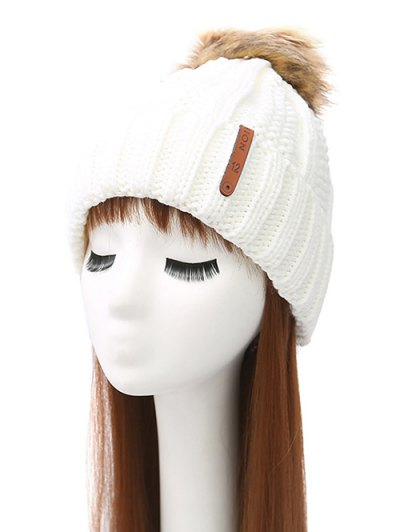 Striped Pom Ball Knitted Beanie - WHITE  Mobile