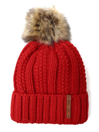 Striped Pom Ball Knitted Beanie - BRIGHT RED  Mobile