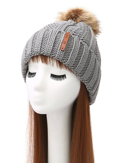 Striped Pom Ball Knitted Beanie - GRAY  Mobile