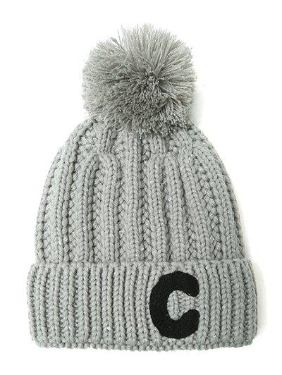 Letter C Pom Ball Knitted Beanie - GRAY  Mobile