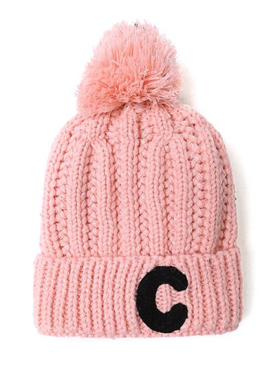 Letter C Pom Ball Knitted Beanie - PINK  Mobile
