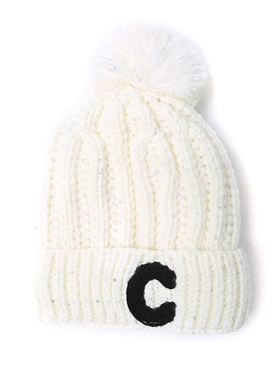 Letter C Pom Ball Knitted Beanie - WHITE  Mobile