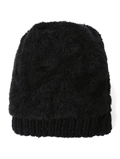 Letter C Pom Ball Knitted Beanie - BLACK  Mobile
