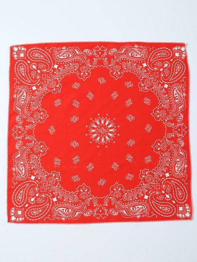 Paisley Floral Printed Bandana - RED  Mobile