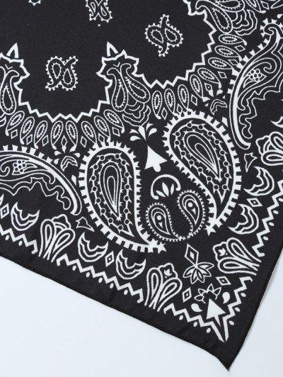 Paisley Floral Printed Bandana - BLACK  Mobile