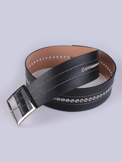 Hollowed Square Buckle PU Belt - BLACK  Mobile