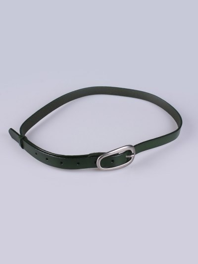 Faux Leather Pin Buckle Skinny Belt - GREEN  Mobile