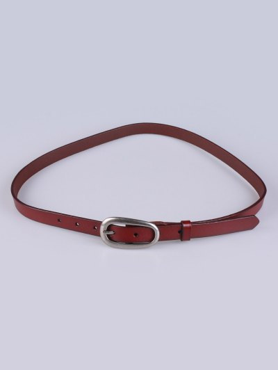 Faux Leather Pin Buckle Skinny Belt - BROWN  Mobile