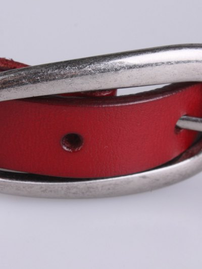 Faux Leather Pin Buckle Skinny Belt - BURGUNDY  Mobile
