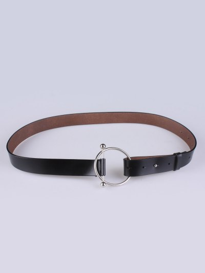 Skinny Round Buckle Faux Leather Belt - BLACK  Mobile