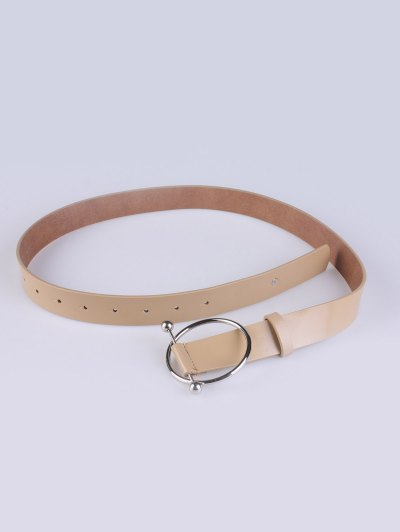 Skinny Round Buckle Faux Leather Belt - KHAKI  Mobile