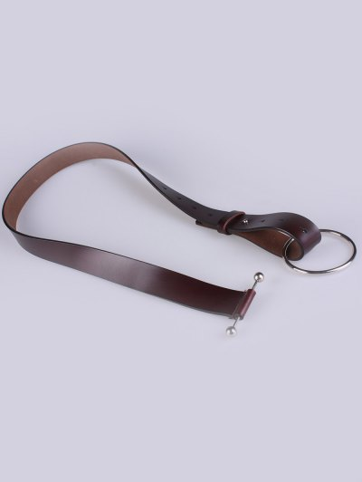 Skinny Round Buckle Faux Leather Belt - COFFEE  Mobile