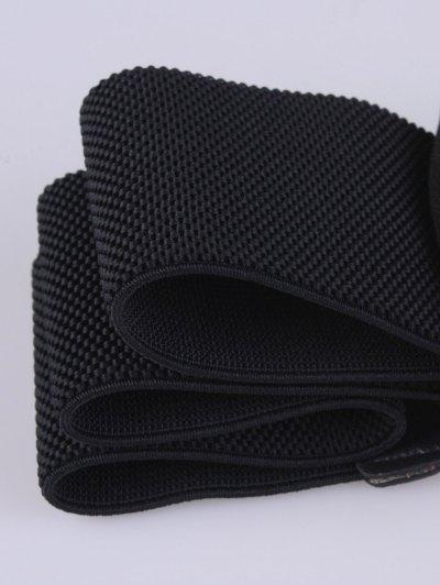 Wide Rhinestone Bowknot Stretch Belt - BLACK  Mobile