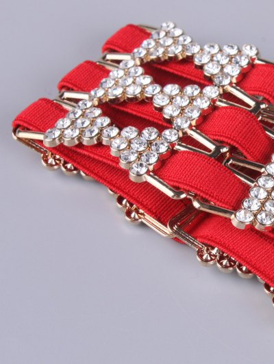 Rhinestoned Hollowed Stretch Belt - RED  Mobile