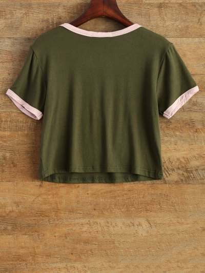 Cartoon Print Cropped Tee - ARMY GREEN S Mobile