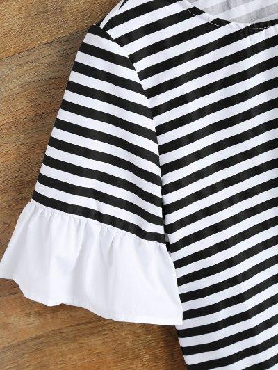 Ruffles Round Neck Striped T-Shirt - STRIPE 2XL Mobile