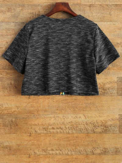 V Neck Space Dyed Cropped T-Shirt - BLACK XL Mobile