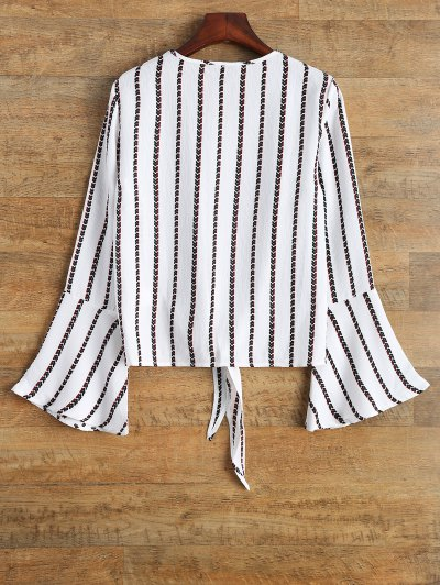 Flare Sleeve Tied Striped Blouse - WHITE L Mobile