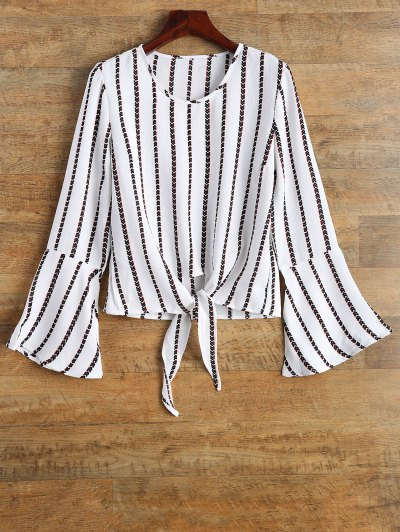 Flare Sleeve Tied Striped Blouse - WHITE S Mobile
