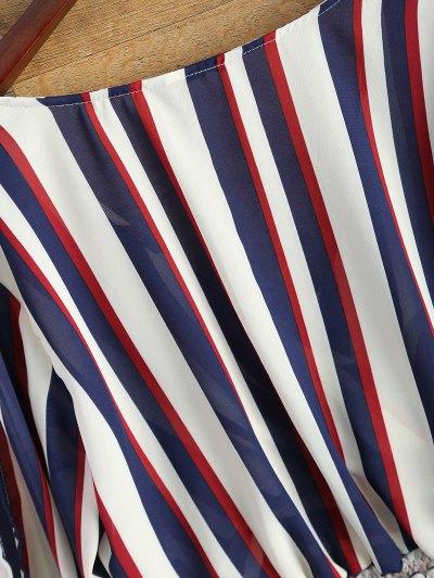 Striped Slit Sleeve Cropped Surplice Blouse - STRIPE L Mobile