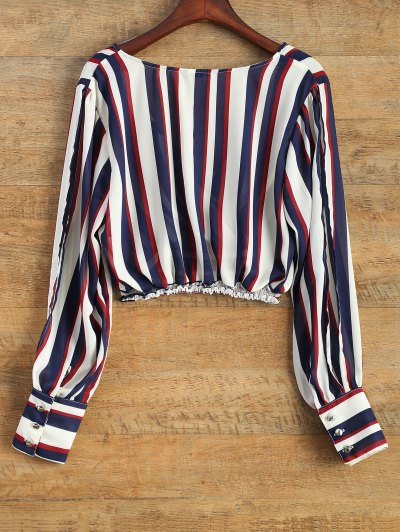 Striped Slit Sleeve Cropped Surplice Blouse - STRIPE M Mobile