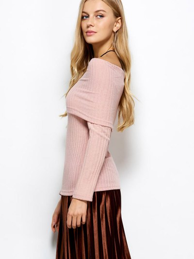 Foldover Off The Shoulder Jumper - LIGHT APRICOT PINK S Mobile