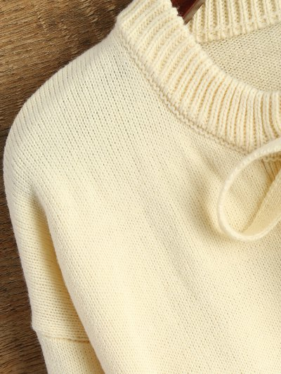 Leisure Fitting Lace-Up Sweater - BEIGE L Mobile