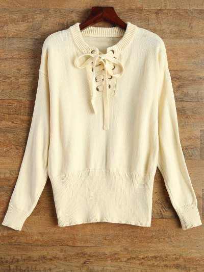 Leisure Fitting Lace-Up Sweater - BEIGE M Mobile