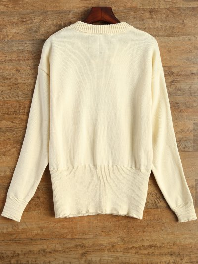 Leisure Fitting Lace-Up Sweater - BEIGE S Mobile