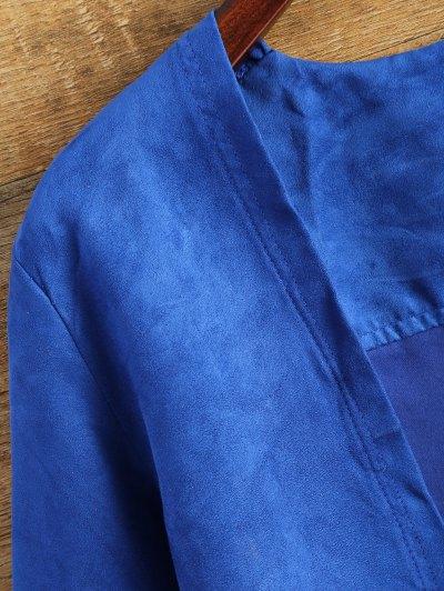 Faux Suede Tassels Cropped Jacket - BLUE 2XL Mobile