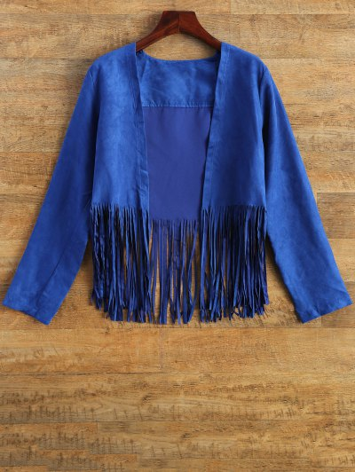 Faux Suede Tassels Cropped Jacket - BLUE XL Mobile