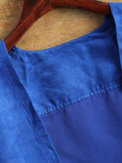 Faux Suede Tassels Cropped Jacket - BLUE L Mobile
