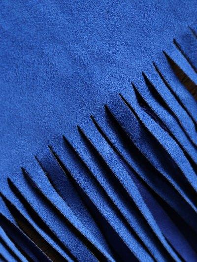 Faux Suede Tassels Cropped Jacket - BLUE M Mobile