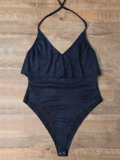 Halter Flounce Ruffles Bodysuit - DEEP BLUE L Mobile