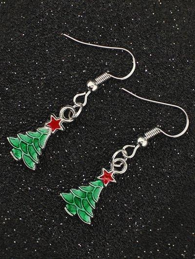 Christmas Tree Pentagram Gift Earrings - SILVER  Mobile