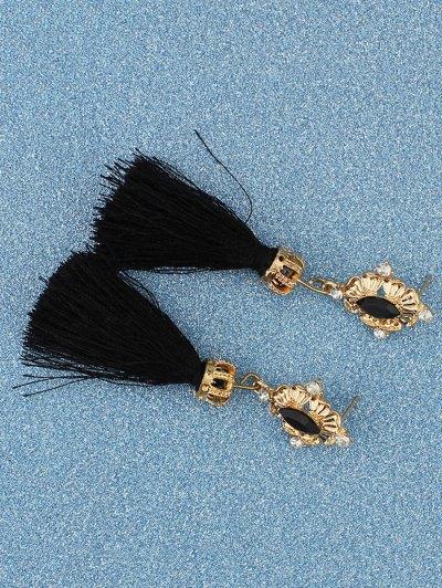 Rhinestone Tassel Crown Earrings - BLACK  Mobile