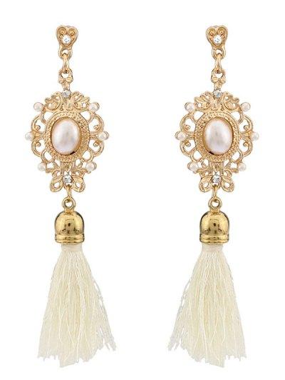 Faux Pearl Tassel Earrings - WHITE  Mobile