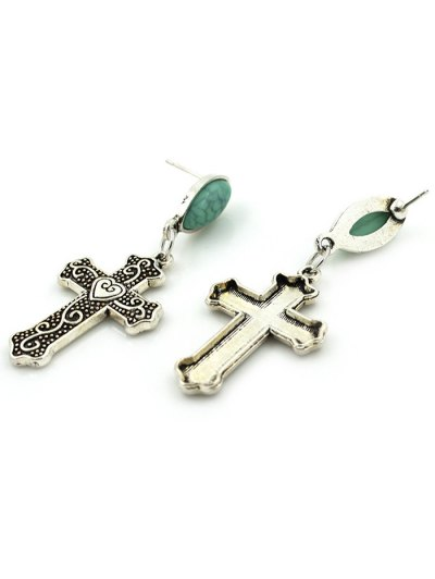 Fake Gemstone Heart Crucifix Earrings - SILVER  Mobile