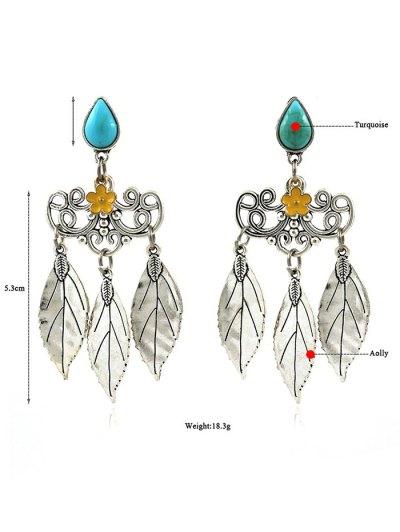 Artificial Gem Teardrop Leaves Flower Earrings - SILVER  Mobile