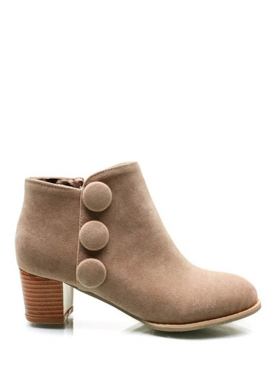 Chunky Heel Buttons Ankle Boots - LIGHT CAMEL 37 Mobile