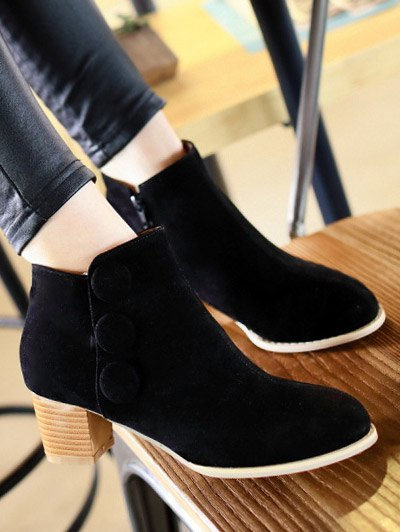 Chunky Heel Buttons Ankle Boots - BLACK 39 Mobile