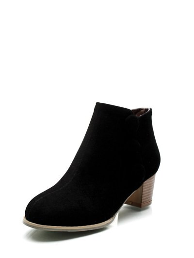 Chunky Heel Buttons Ankle Boots - BLACK 38 Mobile