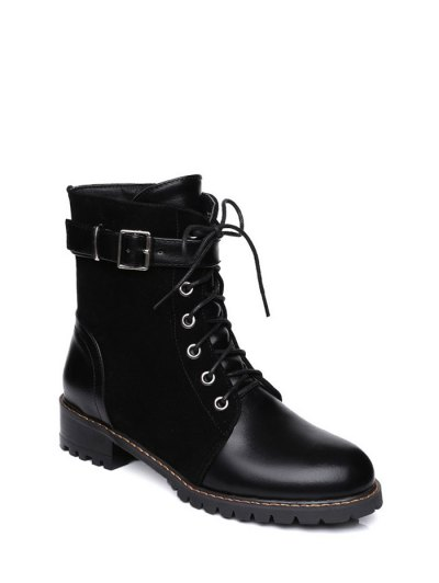 Buckle Strap Suede Panel Combat Boots - BLACK 39 Mobile