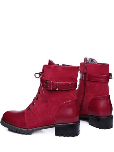 Buckle Strap Suede Panel Combat Boots - RED 39 Mobile