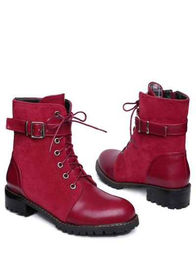 Buckle Strap Suede Panel Combat Boots - RED 37 Mobile