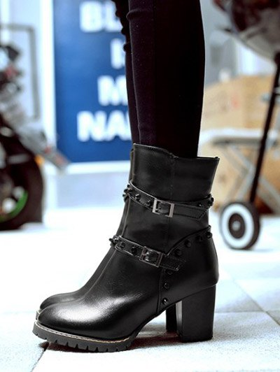 Buckle Straps Rivet Chunky Heel Boots - BLACK 39 Mobile