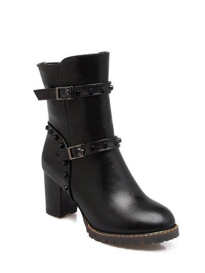 Buckle Straps Rivet Chunky Heel Boots - BLACK 38 Mobile