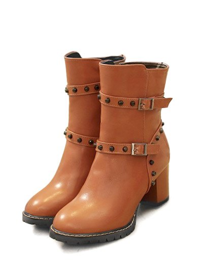 Buckle Straps Rivet Chunky Heel Boots - BROWN 38 Mobile