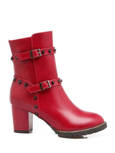 Buckle Straps Rivet Chunky Heel Boots - RED 37 Mobile